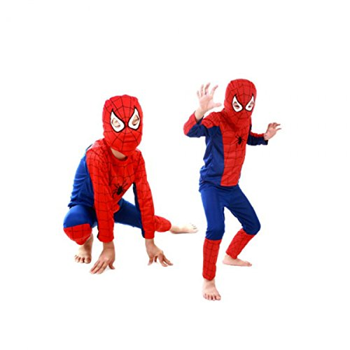 Spider Hero Tights & Trousers & Mask Suit for Kid Size S Blue & Red by Preciastore