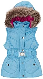 Dollhouse Girls Belted Bubble Vest with Faux Fur Trim Hood - Ice Blue (Size 5/6)