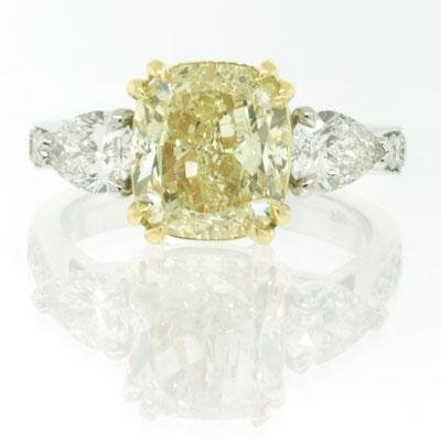 4.63ct Fancy Yellow Cushion Cut Diamond Engagement Anniversary Ring