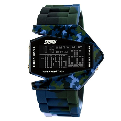GL Unisex uomini sport moda orologio digitale PU gomma cinturino multifunzione notte esercito leggero, Blu