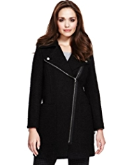 Petite Double Breasted Bouclé Biker Coat with Wool