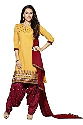 Meera Fashion World Women's Printed Unstitched Regular Wear Salwar Suit Dress Material(JC_DM_Yellow)