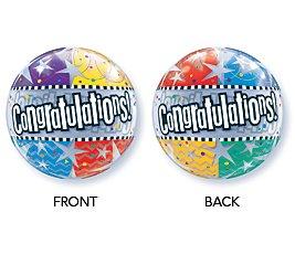 "22"" Congratulations Star Patterns Bubble Balloon - 1"