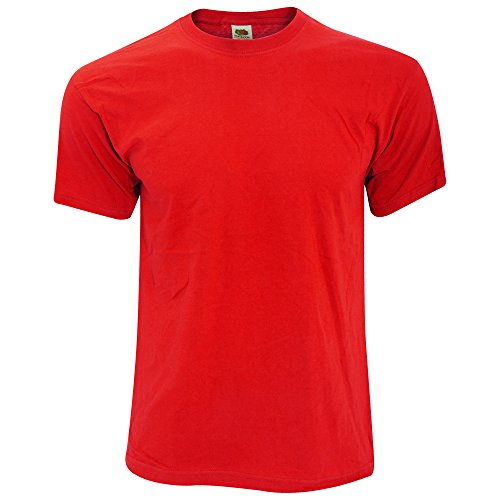 fruit-of-the-loom-camiseta-basica-de-manga-corta-de-calidad-diseno-original-grande-l-rojo