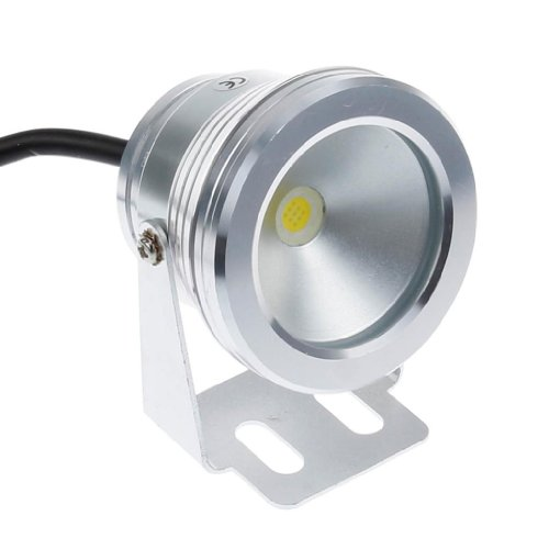 Lemonbest 10W 12V Silver Waterproof Led Underwater Spot Light For Landscape Fountain Pond Pool Tank, Cool White