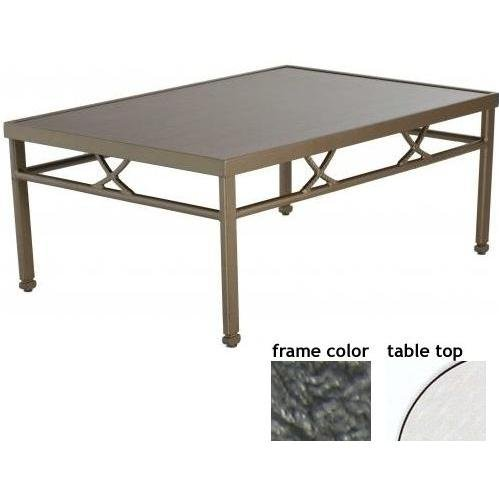 Hudson-tanjor 32 X 48 Inch Aluminum Rectangle Cocktail Table - Glass With Scavo Iron Frame