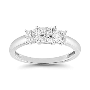 Women's 14k White Gold Engagement Ring (1.00 cttw I-J Color, I1-I2 Clarity), Size 8