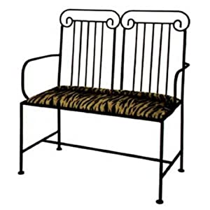 Grace Roman Wrought Iron Loveseat, 40in, Lost City Fabric, Sand Finish
