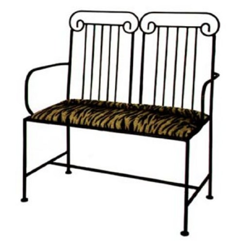 Grace Roman Wrought Iron Loveseat, 40In, Kenmare Fabric, Burnished Copper Finish