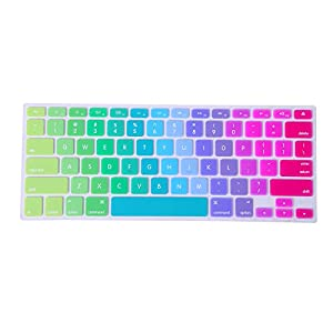 "HDE Rainbow Pride Color Silicone Rubber Keyboard Skin Cover (US Layout) for Macbook Pro 13"" and 15"" (Metallic Rainbow)"