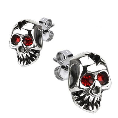 Polished Stainless Steel Biker Stud Earrings With Skull Design and Red Cz eyes