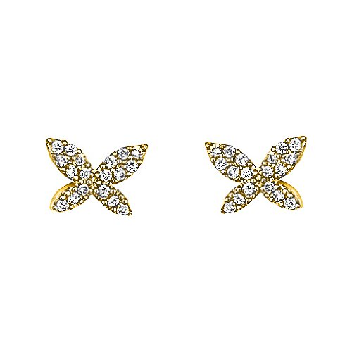 14K Yellow Gold Plated Butterfly CZ Stud Earrings with Screw-back for Children & Women