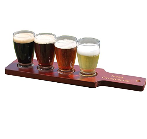 Customized Beer Flight Taster Set Paddle with Glasses - Red/Brown Finish - 2 Lines of Engraving - Personalized Wedding Groomsman Gift Monogrammed for Free