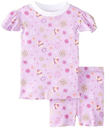 New Jammies Baby Girls' Spring Flowers Organic Baby Pajama Short Set, Lavender, 12 Months