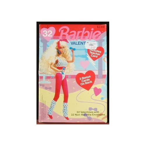 Barbie Valentines Day Cards Box of 32 with Teacher and 3 Bonus Card (1992)
