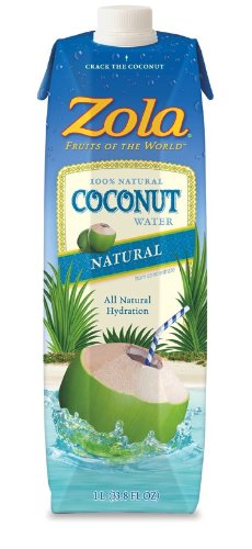 Zola 100% Natural Coconut Water, 1-Liter (Pack of 12)