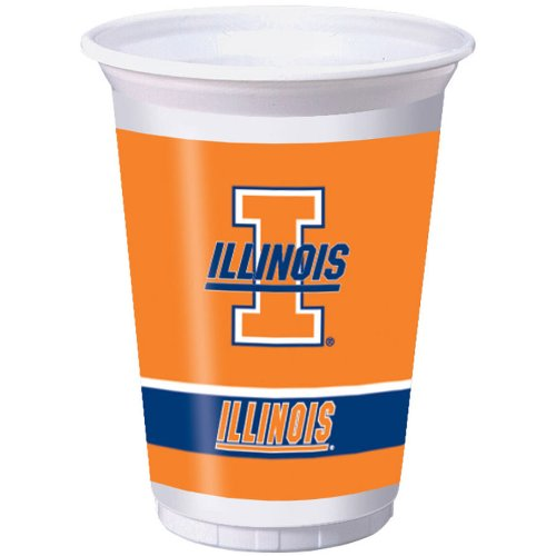 Creative Converting Illinois Fighting Illini Printed 20 Oz. Plastic Cups (8 Count)
