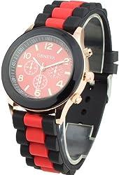 Women's Silicone Band Jelly Gel Quartz Wrist Watch Red