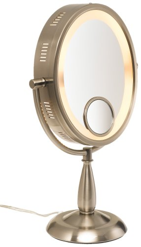 inch oval halo lighted vanity mirror with 10x and 15x magnifica ebay. Black Bedroom Furniture Sets. Home Design Ideas