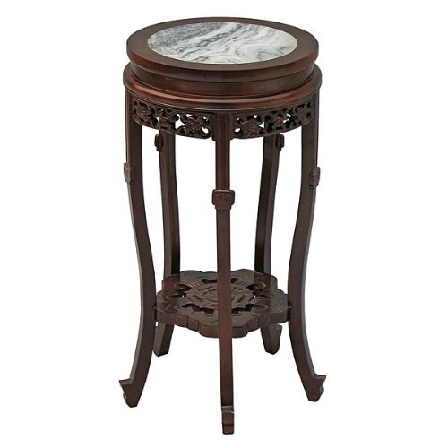 Cheap EXP Antique Style 24-Inch Round Accent/End Table with Mahogany Finish, Carved Trim and Marble Top (frc1033)