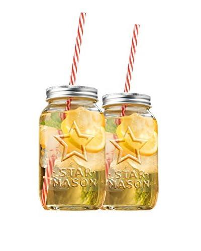 Home Essentials Set of 2 Star Mason 23-Oz. Drinking Jars