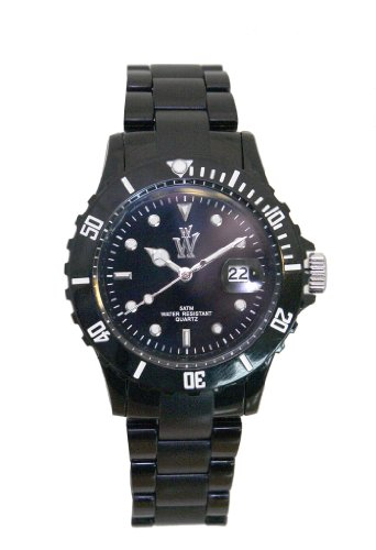 Wow-black Women's Neo Ice Plastic Black Watch, with Black Date Display Dial and Black Bracelet Strap. Ideal Is a Toy, Gift Watch,or a Fashion Accessory
