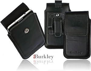 Burkley Exklusive Design Gürteltasche Leder Swivel Holster für Samsung Galaxy S5 Handytasche Schutzhülle Vertikaltasche mit Gürtelclip und Gürtel Schlaufe in schwarz/ black