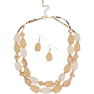 Heirloom Finds Gold Tone Neutral Crystal and Resin Stone Necklace Earring Set