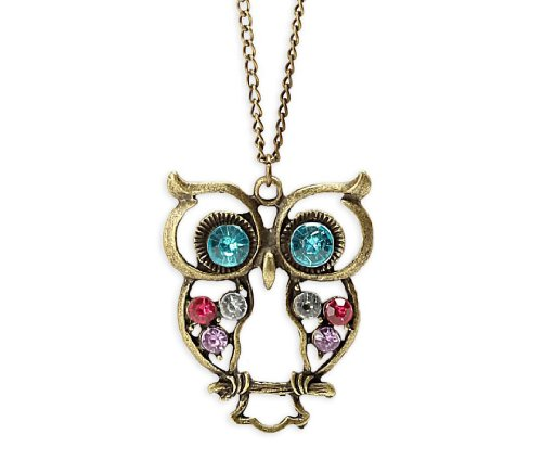 KATGI Classical Style Crystal Owl Design Sweater Chain Pendant Necklace