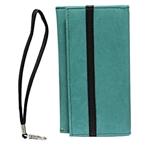 Jo Jo A5 Nillofer Leather Wallet Universal Pouch Cover Case For ZTE Grand X Max Light Blue Black