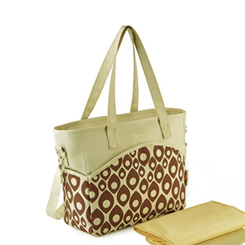 L.Sense Multi-function Large Nylon Tote Shoulder Baby Diaper Bag with Changing Pad (Alps Beige) - 1