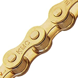 KMC Z410 Bicycle Chain (1-Speed, 1/2 x 1/8-Inch, 112L, Ti-N Gold)