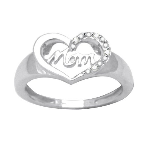 Natural Diamond Platinum Plated Sterling Silver Mom Heart Ring