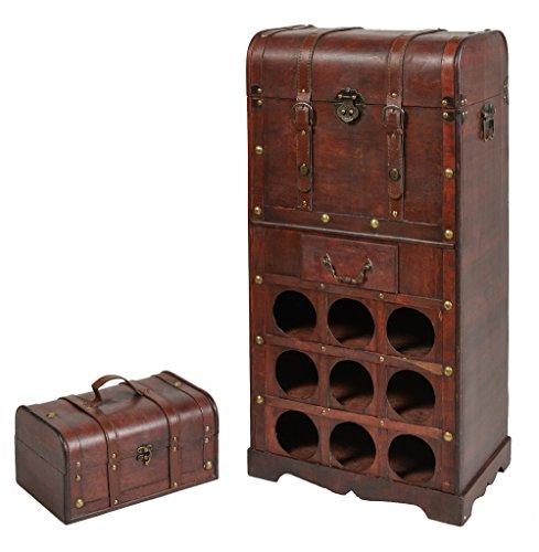 ts-ideen-Weinregal-fr-9-Flaschen-mit-Schublade-Koffer-Piratenkiste-Antik-Schatztruhe-Kolonialstil-Holz-braun-Wohnzimmer-Bar-Flur-Kommode-Schrank-Regal-Flaschenstnder