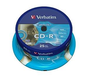 Verbatim Lightscribe V1.2 farbige CD-R Rohlinge (52x AZO, 700MB/80 min., 25-er Spindel) gold/gold bedruckt