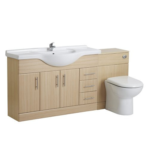 1200mm Beech Bathroom Vanity One Tap Hole Basin Sink and 500mm WC Toilet Unit