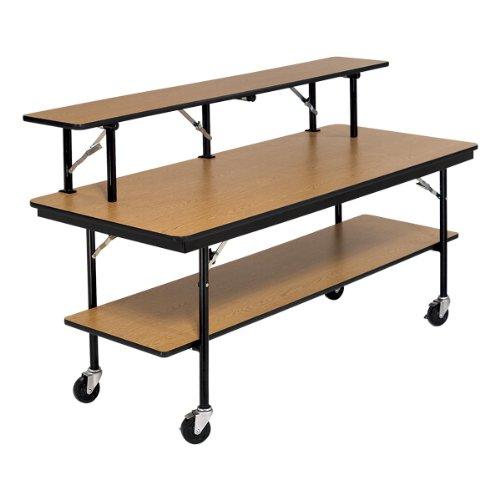 "AmTab Double-Tier Mobile Folding Buffet Table w/ Laminate Top (30"" W x 96"" L)"