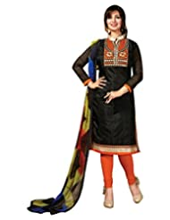 Surat Tex Black Color Casual Wear Embroidered Chanderi Semi-Stitched Salwar Suit