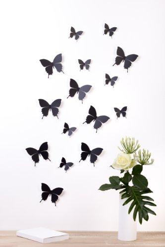 Bilderdepot24, Set di farfalle decorative effetto 3D con adesivo, 15 pz., Nero (Schwarz)
