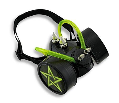 Black / Neon Yellow Cyberpunk Respirator Mask w/ Metal Spikes Pentagrams