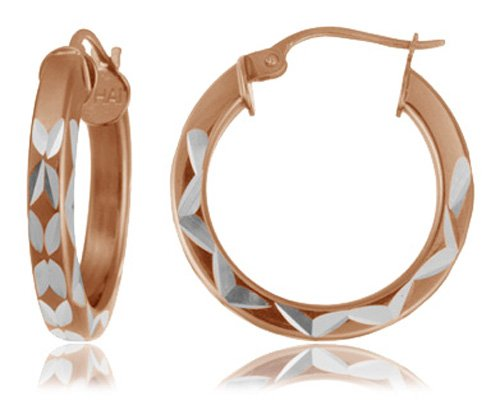 Rose Gold Plated Sterling Silver Square Tube Hoop Earrings (.8
