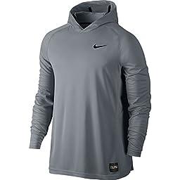 Nike Mens Elite Shooting Basketball Hoodie Cool Grey/Black 683006-065 Size Large