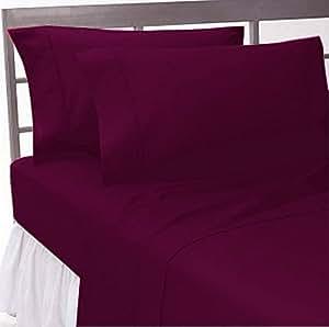 marrikas 1500 class microfiber twin extra long solid burgundy sheet set. Black Bedroom Furniture Sets. Home Design Ideas