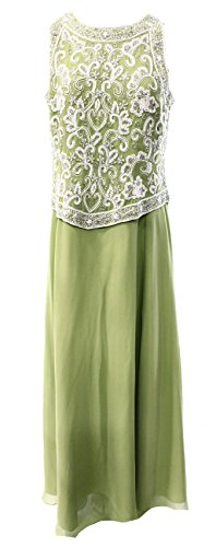 JKara Women's Beaded Sequined Popover Ball Gown Dress Green 12