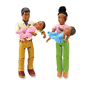 Fisher Price Loving Family Grand Dollhouse Twins African American Dolls Family of 4, Babies