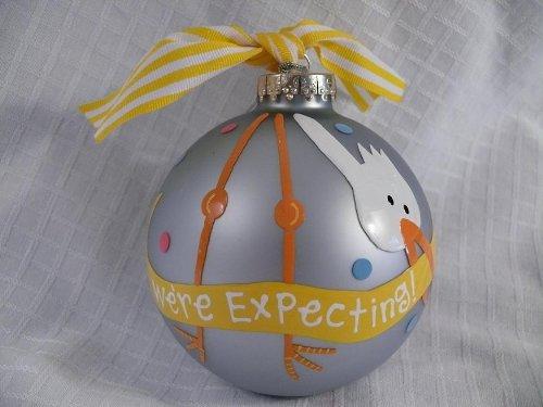 Coton Farben WE 'RE erwarten Storch Glas Ornament