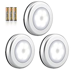 3PCS Motion Sensor Light, Vankey Battery-Powered Motion Sensing LED Night Light Stick-Anywhere Indoors, Wall Light for Hallway, Bathroom, Closet, Bedroom, Stairs,Build-in Magnet (Battery Included)