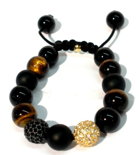 Shamballa Two 12mm Paves Gold Plated Crystal and Jet Black Crystal and 12mm Gems Stone Combination Smooth Brown Tiger Eye Smooth Onyx Matte Onyx Macrame Closure Adjustable Unisex Handmade bracelet