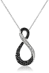 10K White Gold Black and White Diamond Infinity Pendant Necklace (1/3 cttw) 18