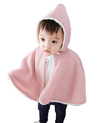 SaiDeng Bambino Colore Puro Carino Addensare Caldo Scialle con Cappuccio Cappotto Pink 90
